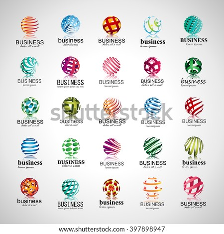 Sphere Icons Set-Isolated On Gray Background-Vector Illustration - stock vector