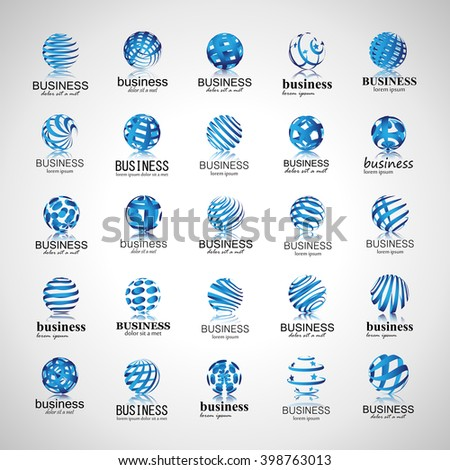 Sphere Icons Set-Isolated On Gray Background-Vector Illustration,Graphic Design.For Web,Websites,App,Print,Presentation Templates,Mobile Applications And Promotional Materials.Different Logotype - stock vector