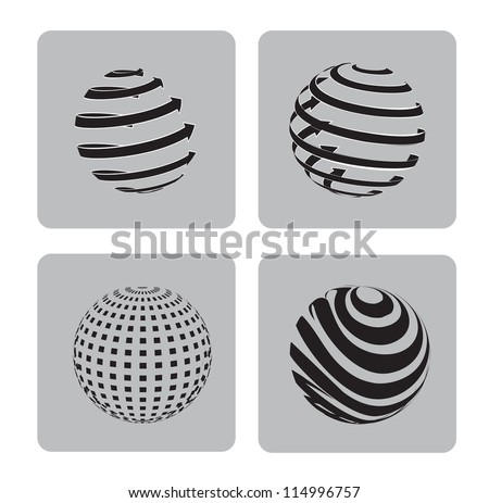 sphere in different ways over gray background vector illustration - stock vector