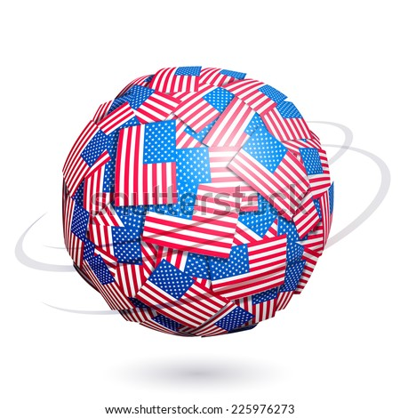 Sphere made from US flags. Eps10. Transparency used. RGB. Global colors. Gradients used. - stock vector