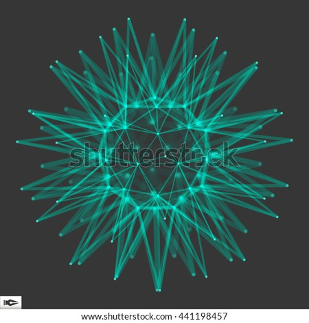 Sphere with Connected Lines and Dots. Glowing Grid. Connection Structure. Wireframe Vector Illustration. - stock vector