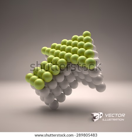 Spheres forming an arrow. Business concept illustration. Can be used for marketing, website, presentation. - stock vector