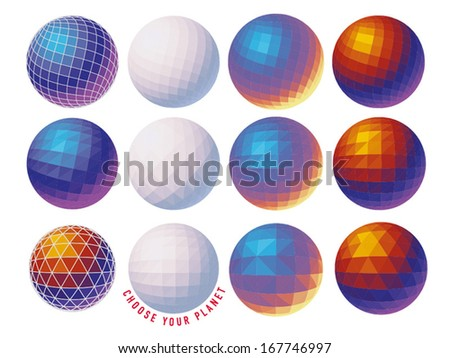 Spherical shape from different triangle patterns - stock vector