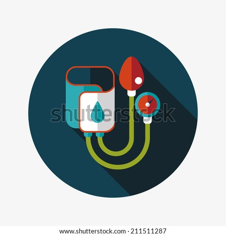 Sphygmomanometer flat icon with long shadow - stock vector