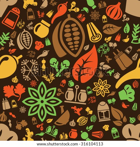 spice seamless pattern - stock vector