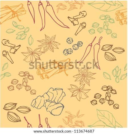Spices doodles seamless vector - stock vector