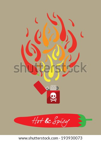 spicy restaurant theme background illustration template set � fiery lighter  - stock vector
