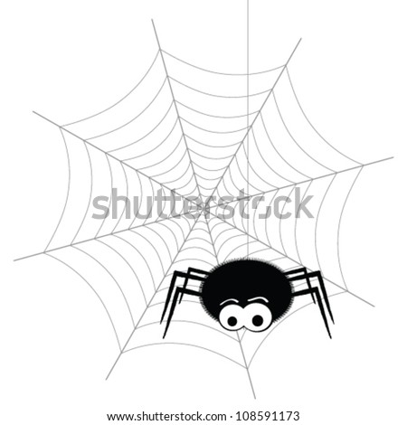 spider and web vector - stock vector