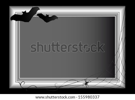 Spider web and two bats bordering an empty frame.  - stock vector