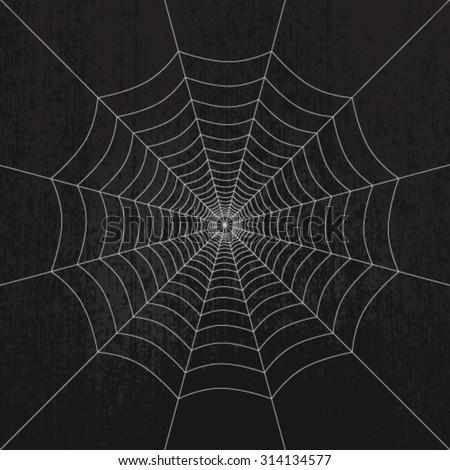 Spider web on dark grunge background - stock vector