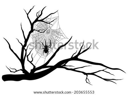 spider web on tree branch - halloween theme black vector silhouette - stock vector