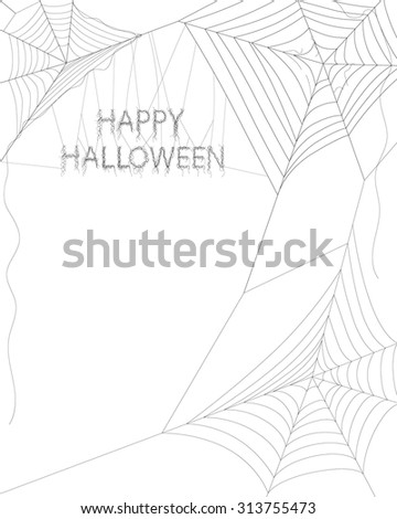 Spider web on white for Halloween - stock vector
