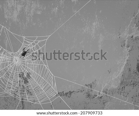 Spider web silhouette on concrete wall - halloween theme spooky background with place for your text - stock vector