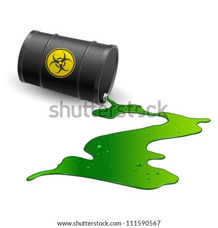 Spilled chemical barrel. Illustration on white background - stock vector