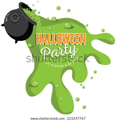 Spilling Cauldron Halloween party invite EPS 10 vector - stock vector