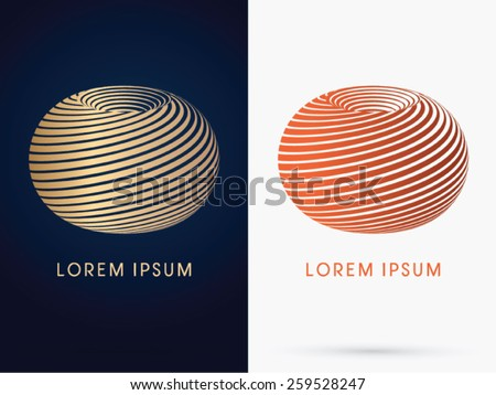 Spin cycle, Wheel, Abstract shape, designed using gold and bronze line, logo, symbol, icon, graphic, vector. - stock vector