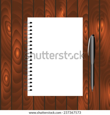 Spiral bound notebook with pen on the dark wooden background. Template for your business design. Easy to change the cover. - stock vector
