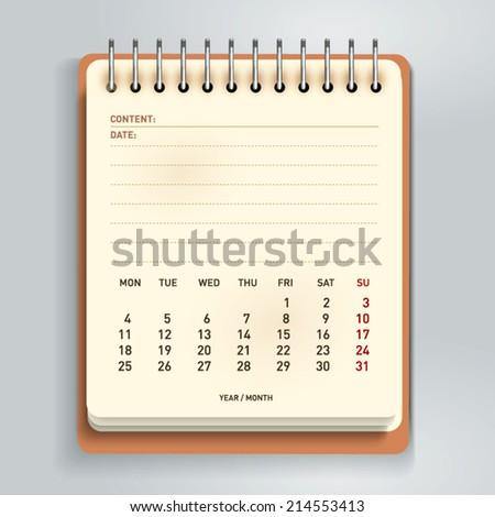 Spiral calendar. Vector Illustration. - stock vector