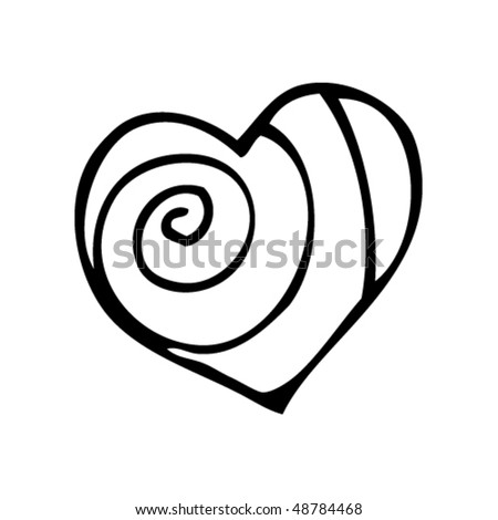 spiral heart drawing - stock vector