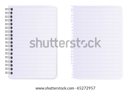 Spiral notebook and note paper. Vector. - stock vector