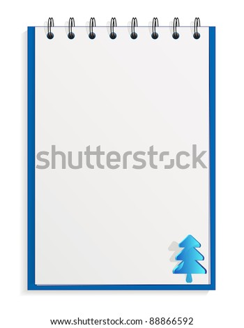 Spiral notebook with christmas tree label - stock vector
