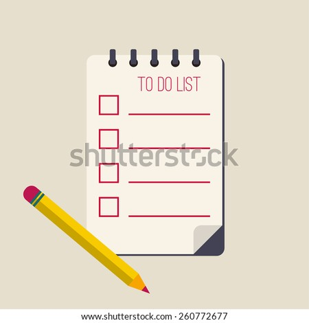 spiral notepad notebook with to do list and pencil. Lines with check boxes. checklist for note. consent. check mark. election and voting.flat design - stock vector
