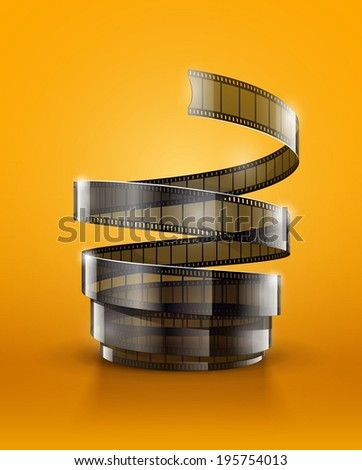 Spiral of cinematography film tape. - stock vector