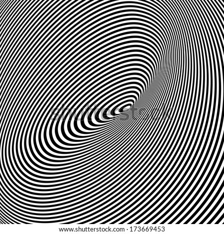 Spiral Optical Illusion -? Abstract Black and White Opt Art Background - stock vector