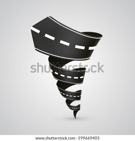 Spiral road. Vector illustration - stock vector