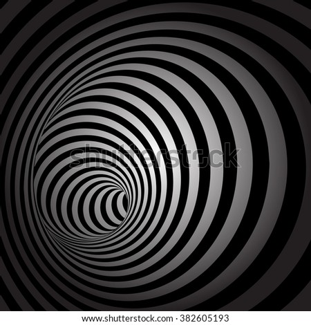 Spiral Striped Abstract Tunnel Background - stock vector