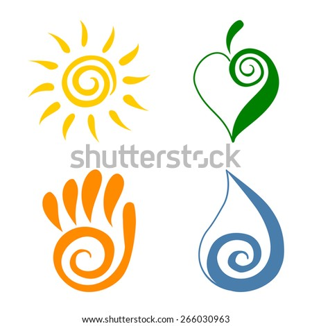 Spiral symbols set vector illustration Green energy icons Ecology icons - stock vector