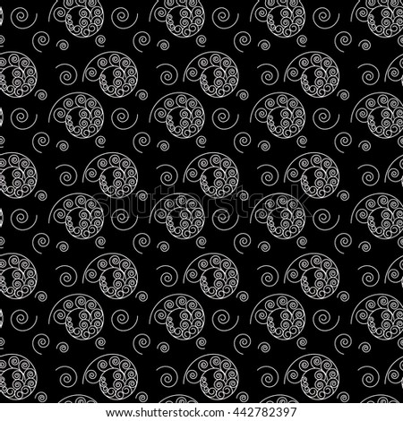 Spiral white seamless pattern. Fashion graphic background design. Modern stylish abstract texture. Monochrome template for prints, textiles, wrapping, wallpaper, website. VECTOR illustration - stock vector