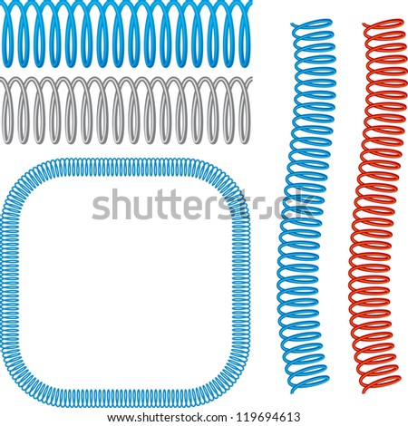 Spiral wire brush (wire is a editable illustrator brush). Global colors - stock vector