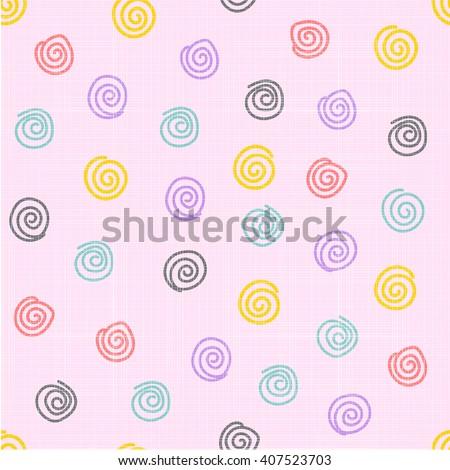 spirals seamless pattern, Modern and cute wallpaper background, Vector illustration. - stock vector