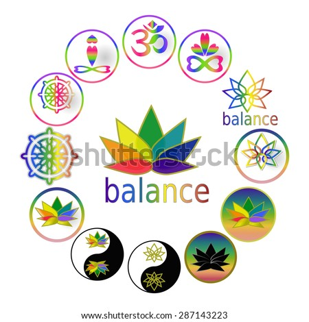 Spiritual harmony and balance icons Yoga symbols, Zen Buddhism icons set, Taoism symbols, Set of oriental religion symbols icon: lotus, meditation asana, yin yang sign, Dharma wheel, Sanskrit Ohm sign - stock vector