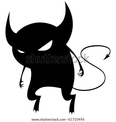 Spiteful black devil. - stock vector