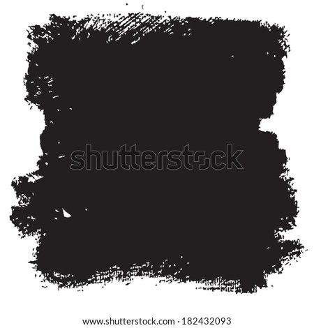 Splash blot banner set in paint black isolated on white background, abstract watercolor, handmade brush stroke, acrylic on canvas - stock vector
