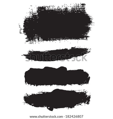 Splash blot banner set in paint black isolated on white background, label, badge, tag ,abstract watercolor, handmade brush stroke, acrylic on canvas - stock vector