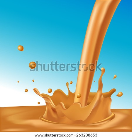 splash of hot coffee or caramel on blue background - vector illustration - stock vector