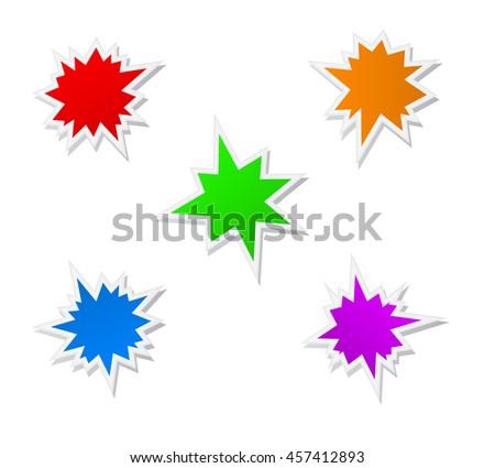 splash star icon set - stock vector