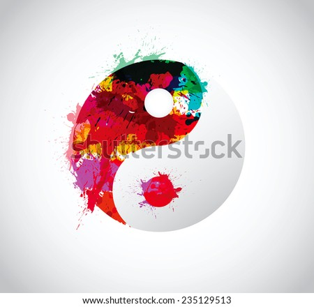 splash vector designs yin yang - stock vector