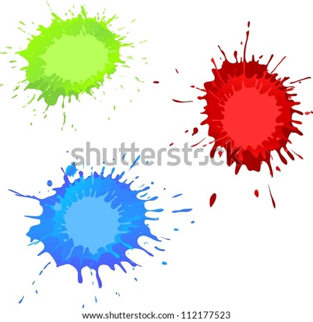 splashes of color ink with a place for your text in center - stock vector