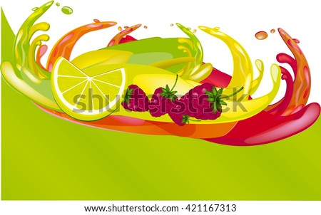 splashes of juice over color background - stock vector