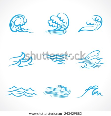 Splashes of water waves - stock vector