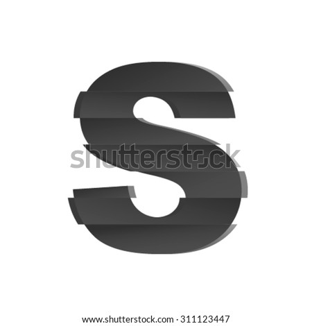 Split font, letter S - stock vector