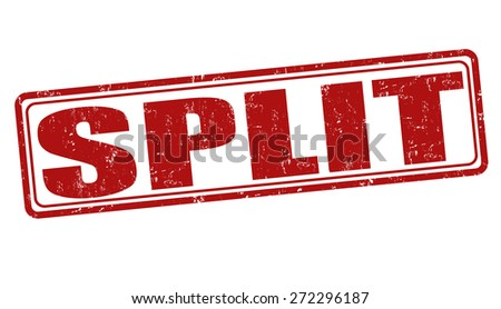 Split grunge rubber stamp on white background, vector illustration - stock vector