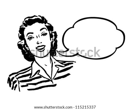 Spokeswoman - Retro Clipart Illustration - stock vector