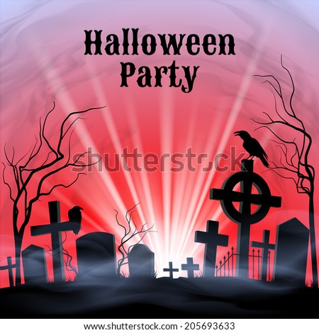 Spooky graveyard on the Halloween Night, Halloween Party poster in black, red and white  - stock vector