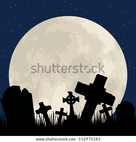 Spooky Halloween cemetery with graveyard and moon - stock vector
