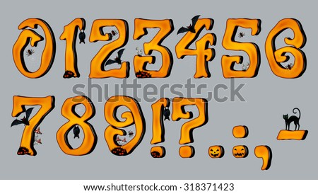 Spooky Halloween Font Number Figures, for Halloween greeting Cards, EPS 10 contains transparency.  - stock vector